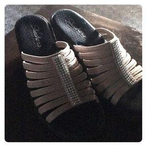 Memory foam slip on heels, decorative stones